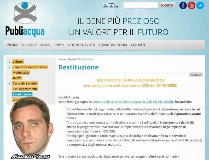 PUBLIACQUA E LA RESTITUZIONE DELLA INDEBITA TARIFFA-DEPURAZIONE