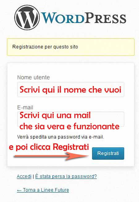 COME REGISTRARSI SU «LINEE FUTURE»