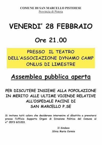 ALLARME-OSPEDALE CON SORPORESA: L'ASSEMBLEA DEL COMUNE SI SPOSTA ALLA DYNAMO CAMP