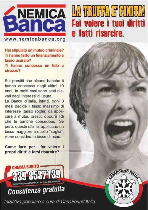 CASAPOUND PRESENTA 'NEMICA BANCA', SERVIZIO GRATUITO DI ASSISTENZA LEGALE CONTRO ILLECITI BANCARI
