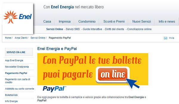 ENEL ENERGIA, PAGAMENTO DELLE BOLLETTE ONLINE CON PAYPAL