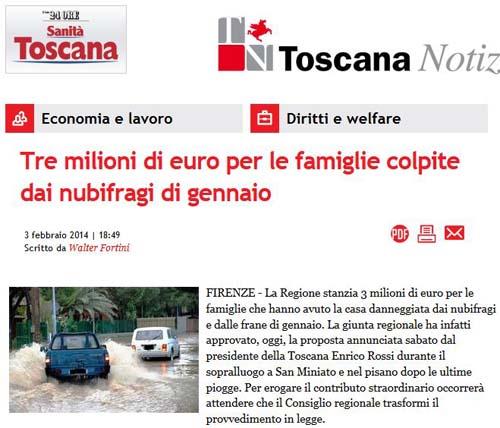 TRE MILIONI DI EURO PER LE FAMIGLIE COLPITE DAI NUBIFRAGI DI GENNAIO