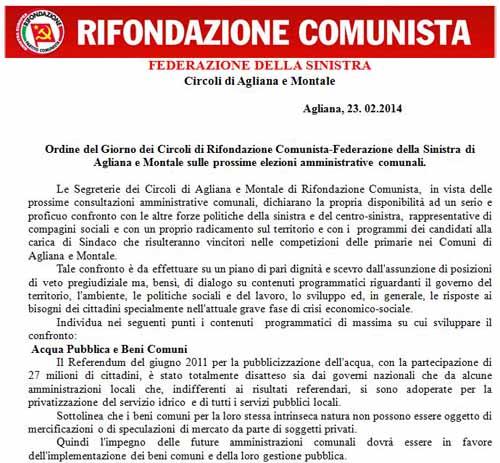 CIRCOLI DI RIFONDAZIONE COMUNISTA-FEDERAZIONE DELLA SINISTRA DI AGLIANA E MONTALE
