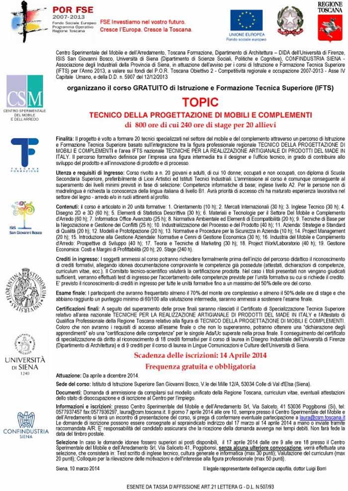 DIVENTARE TECNICO SPECIALIZZATO NEL SETTORE DEL MOBILE E DEL COMPLEMENTO CON 'TOPIC'