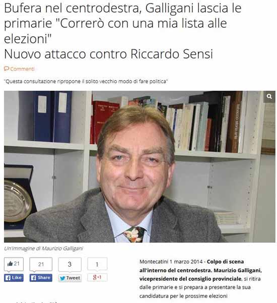 """""""PATTO PER LA CITTÀ"""", MAURIZIO GALLIGANI SI RITIRA"""
