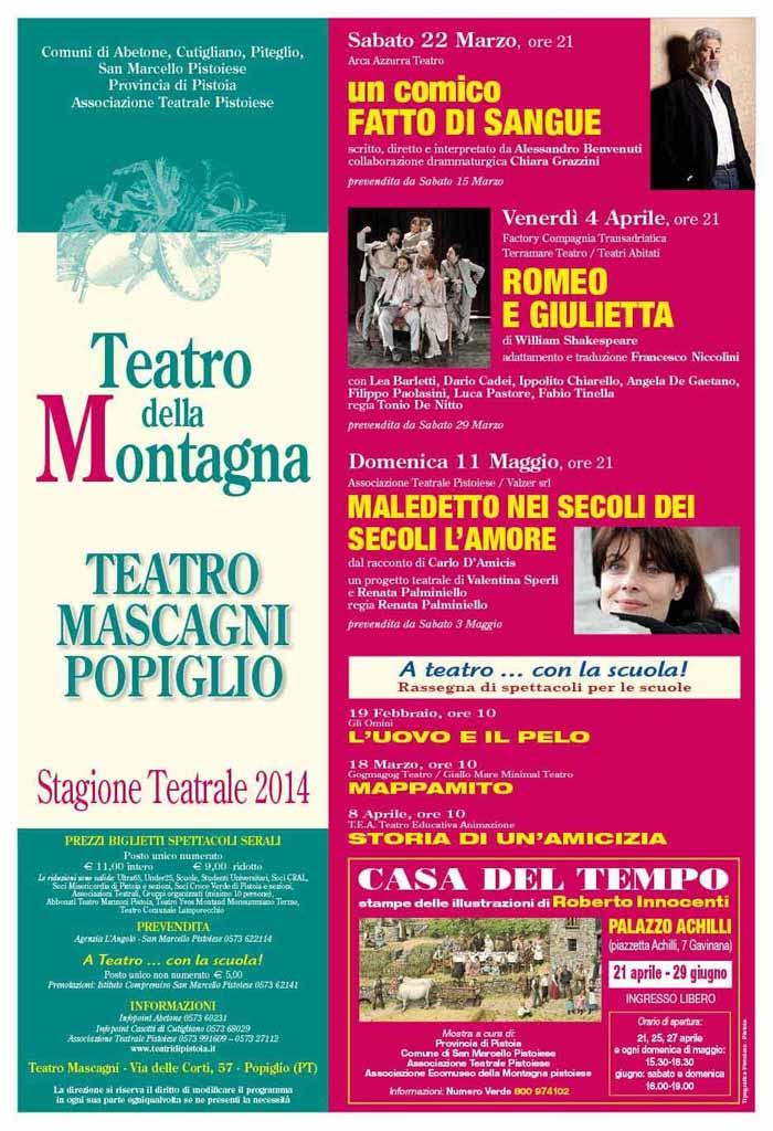 TEATRO MASCAGNI POPIGLIO, AL VIA LA STAGIONE DI PROSA 2014