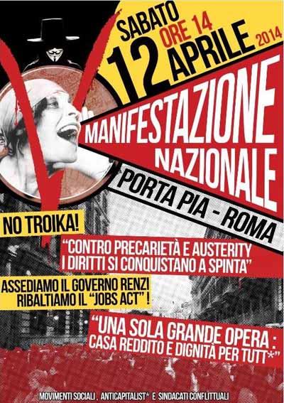 INQUILINI A ROMA CONTRO LE POLITICHE ANTIPOPOLARI DEL GOVERNO RENZI