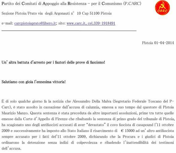 CASSAZIONE. DELLA MALVA ASSOLTO DALL'ACCUSA DI CALUNNIA