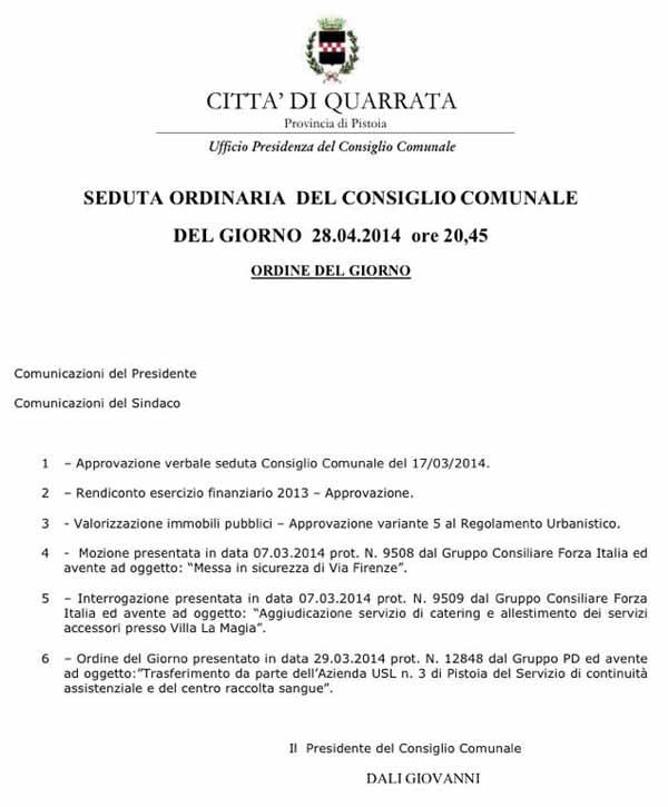 CONSIGLIO COMUNALE A QUARRATA