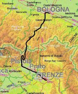 Il tracciato della Porrettana