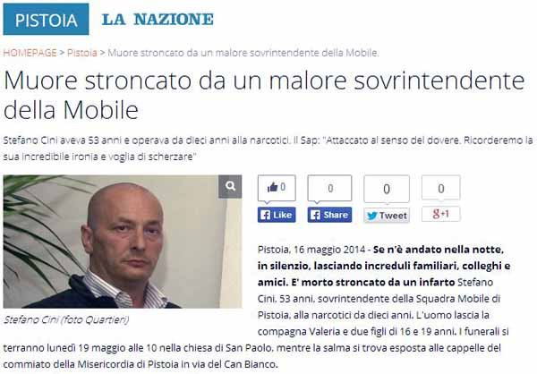 SAP. LUTTO IN QUESTURA PER LA MORTE DI STEFANO CINI