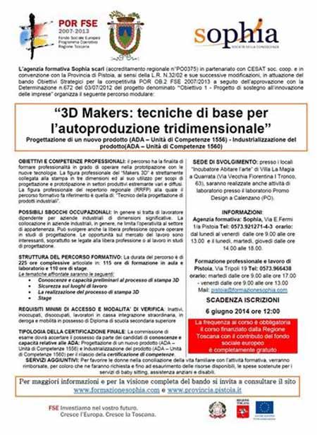 """ECCO IL CORSO """"3D MAKERS"""""""