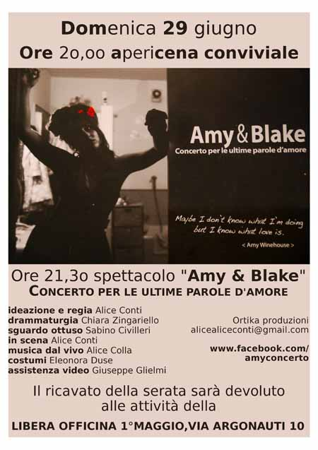 """APERICENA E SPETTACOLO MUSICALE CON """"AMY & BLAKE"""""""