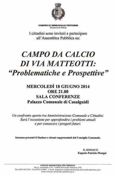 CASALGUIDI, CAMPO DA CALCIO DI VIA MATTEOTTI