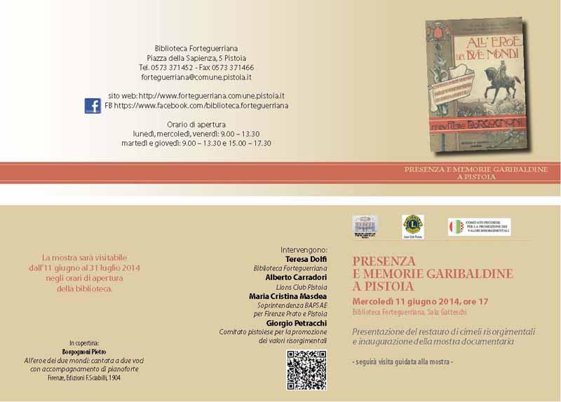 PRESENZA E MEMORIE GARIBALDINE A PISTOIA