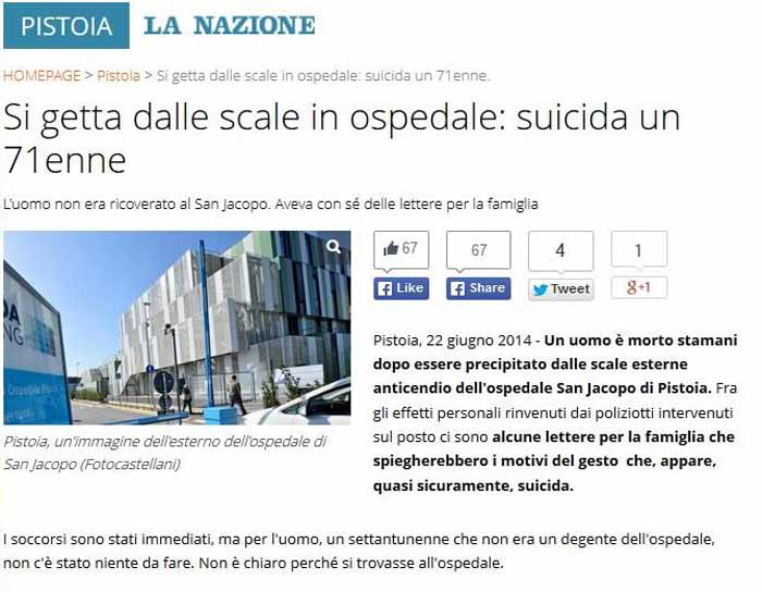 SUICIDIO AL SAN JACOPO