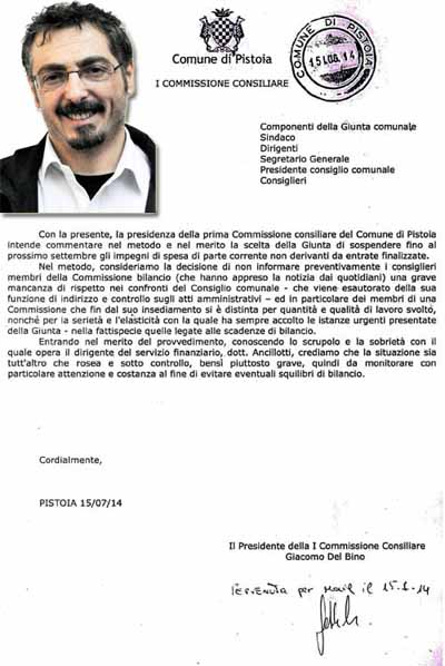 DEL BINO (M5S) SULLA SOSPENSIONE DEGLI IMPEGNI DI SPESA FINO A SETTEMBRE