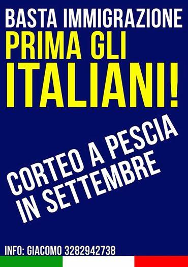 CASAPOUND: «BASTA IMMIGRAZIONE. PRIMA GLI ITALIANI»