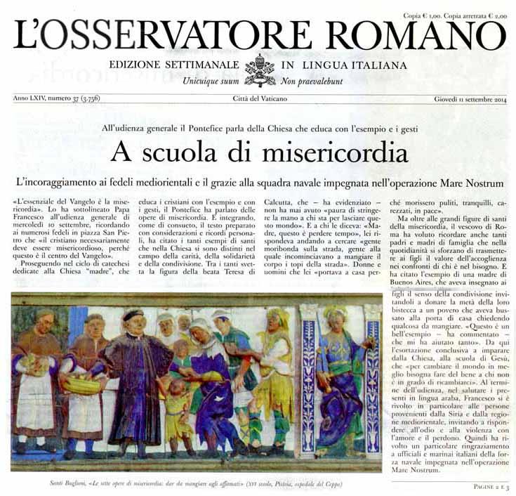 «L'OSSERVATORE ROMANO» E IL FREGIO DEL CEPPO