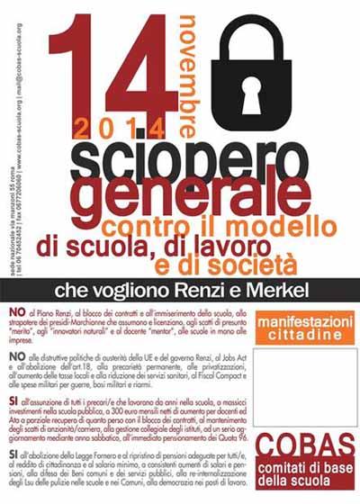 14 NOVEMBRE, SCIOPERO GENERALE E SOCIALE