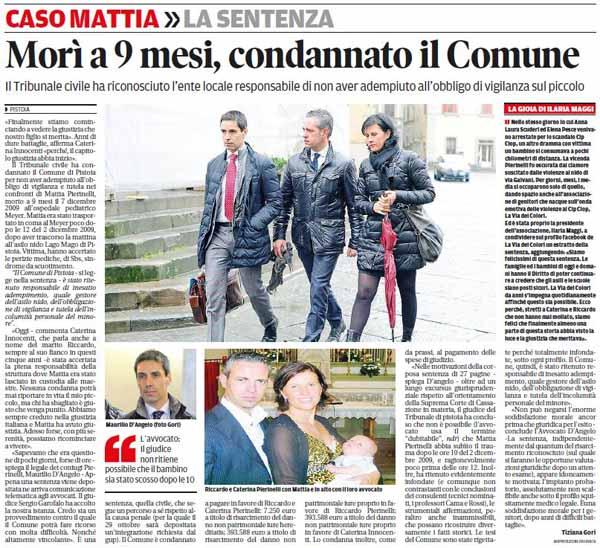 PROCESSO PIERINELLI, LA PAROLA DEL COMUNE