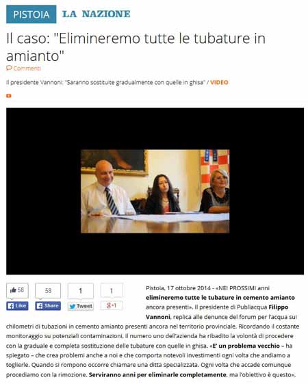 ACQUA & AMIANTO: CONTINUA LA GUERRA