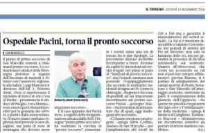 Il Tirreno, 13 novembre 2014. Ospedale di San Marcello
