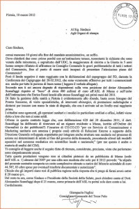 La lettera di Giampaolo Pagliai