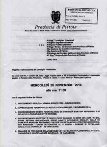 L'ordine del giorno del Consiglio Provinciale