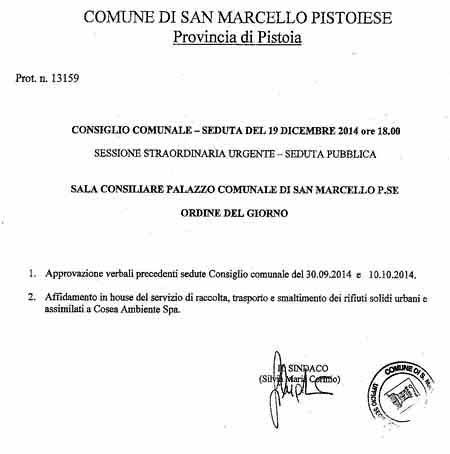 SAN MARCELLO. CONSIGLIO COMUNALE SULLA RACCOLTA RIFIUTI