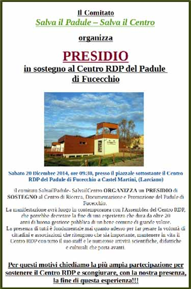 PRESIDIO A SOSTEGNO DEL CENTRO RDP DEL PADULE