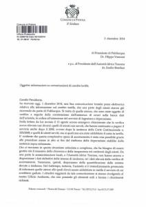 Il testo della lettera inviata dal sindaco Bertinelli