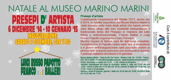"""PRESEPI D'ARTISTA"" AL MARINO MARINI"