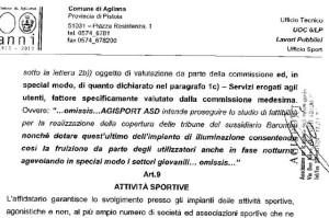 Estratto della prescrizione di obbligo presente nel contratto di Agisport