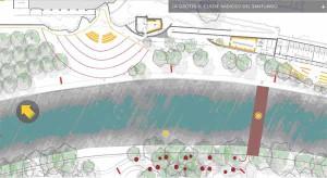 Un rendering di come sarà la Grotta con gli alberi provenienti da Pistoia