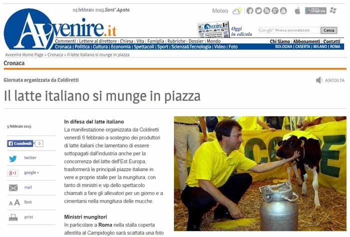 """""""UN GIORNO DA ALLEVATORE"""" PER SALVARE IL LATTE MADE IN ITALY"""
