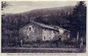 La Casetta Pulledrari nella foresta del Teso in una antica cartolina