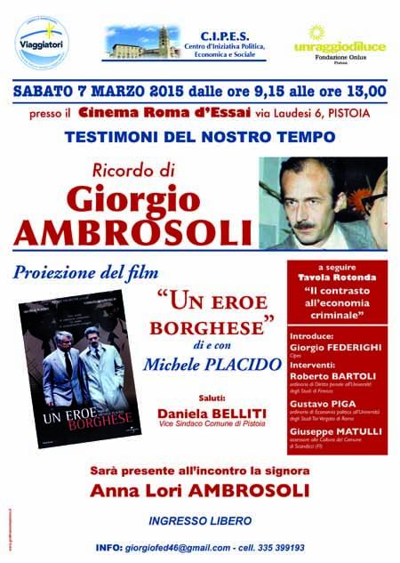 """""""RICORDO DI GIORGIO AMBROSOLI"""" AL CINEMA ROMA"""