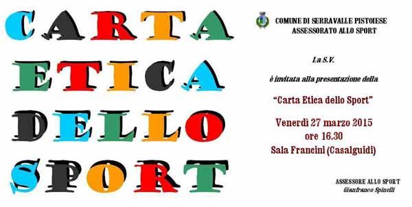 """CASALGUIDI, PRONTA LA """"CARTA ETICA DELLO SPORT"""""""