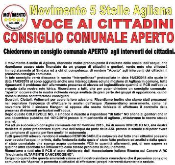 AGLIANA ACQUA & VELENI. M5S: «VOGLIAMO UN CONSIGLIO COMUNALE APERTO»