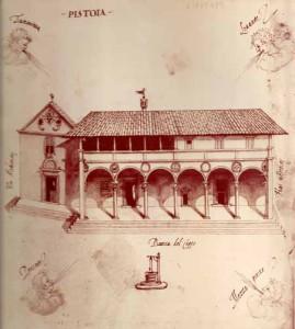 Antica stampa dell'ospedale del Ceppo