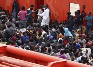 uno sbarco di migranti