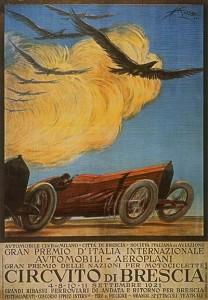 1921. Circuito di Brescia. Le Mille Miglia in una locandina d'epoca