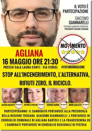 REGIONALI, GIACOMO GIANNARELLI (M5S) A AGLIANA