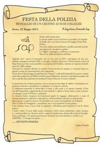 Il messaggio del segretario nazionale Sap