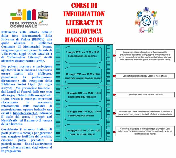 A MAGGIO CORSI DI INFORMATION LITERACY IN BIBLIOTECA