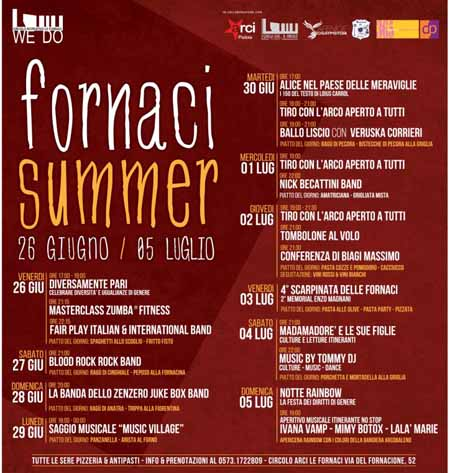 """""""FORNACI SUMMER"""", DIECI GIORNI DI FESTA"""