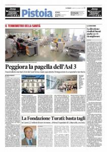 Il Tirreno, 20 giugno 2015 - Peggiora la pagella della Asl