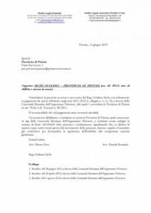 Lettera inviata alla Provincia di Pistoia