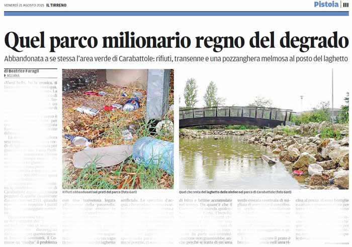 PAPI SULLO SCEMPIO DELL'AREA VERDE DELLE CARABATTOLE